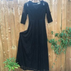 Long flowing black lace dress with 3/4 sleeves